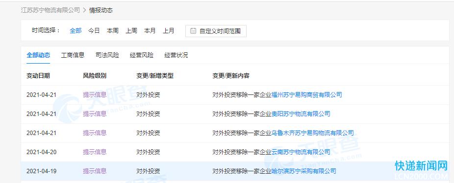 苏宁物流4月份对外投资已移除5家公司